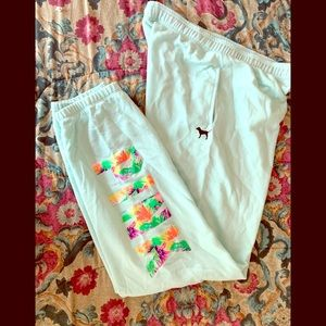 Large mint green VS Pink campus sweats